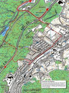 Lageplan Herrensohr mit Gemarkungsgrenzen
